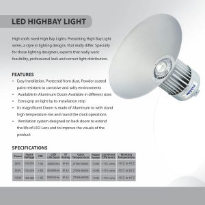 LED HIGHBAY LIGHT SPECS